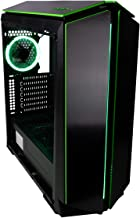 CUK Mantis Full ATX Tower Gaming Desktop Case with 6 Green Halo Fans Pre-Installed (ATX, Micro-ATX, ITX Motherboard Support)