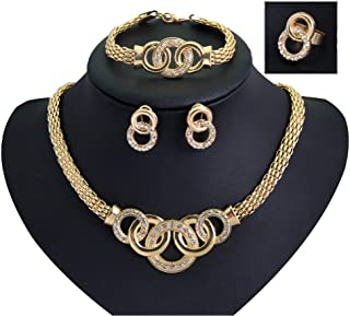 18K Gold Plated Knot Crystal Necklace, Earrings, Bracelet and Ring Set
