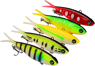 ProberoS Soft Shad Swimbaits Silicone Fishing Lures Rigged Lead Head Jigs Soft Lure Bass Swim Bait Rig Tackle for Saltwater and Freshwater 5PCS/LOT