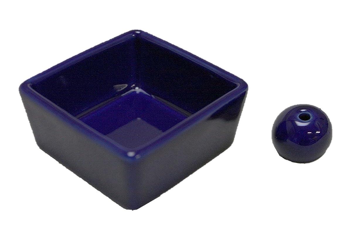 自慢奇跡刃和モダン 瑠璃色 お香立て 陶器 角鉢 製造直売品