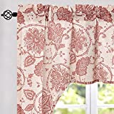 jinchan Swag Valance Terrared Kitchen Window Curtain Linen Print Scroll Jacobean Floral Paisley Medallion Rustic Country Style Living Room Window Treatment 38 inch Long