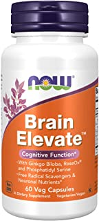 NOW Supplements, Brain Elevate, Featuring Ginkgo Biloba, RoseOx and Phosphatidyl Serine, 60 Veg Capsules