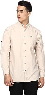 Urbano Fashion Men's Cotton Full Sleeve Casual Shirt with Mandarin Collar Slim Fit