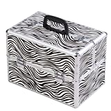 Giantex 14'x9'x10' Pro Aluminum Makeup Train Case Jewelry Box Cosmetic Organizer (Zebra)