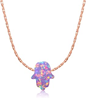 KEZEF Purple Opal Hamsa Hand Necklace 16-18 inch Yellow or Rose Gold Plated and Sterling Silver