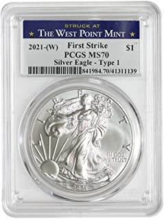 2021 (W) 1 oz American Silver Eagle Coin MS70 (Heraldic Eagle T-1 - First Strike - Struck at The West Point Mint) by CoinFolio $1 MS-70 PCGS