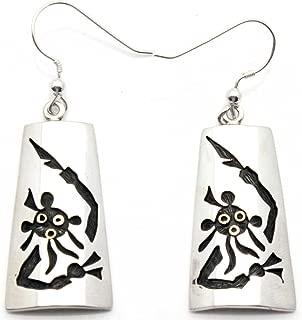 Hopi Sterling Silver Dangle Earrings Featuring the Koyemsi or Mudhead Kachina