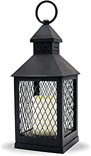 """Eldnacele 11"""" LED Candle Lantern Decorative Indoor Outdoor Hanging Lantern with Waterproof Flameless Candle 6-Hour Timer, for Home, Garden, Patio, Party Lights, Black"""