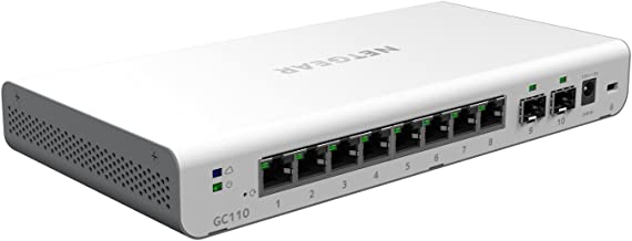 NETGEAR 10-Port Gigabit Ethernet Insight Managed Smart Cloud Switch (GC110) - with 2 x 1G SFP, Desktop