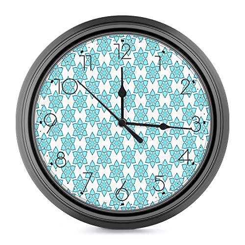 푸른 꽃 10 인치 대형 벽 시계-자동 체크-벽 시계 거실을 위한 장식을 위해 적당한 가족 주택 학교 부엌 사무실 거실