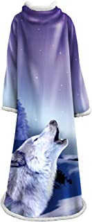 Adult Soft Throw Blanket with Sleeves 3D Child Women and Men Throw Blanket Wearable Blankets 50x70 inch