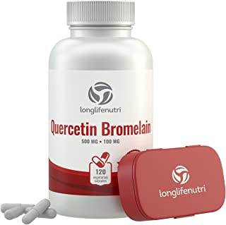 Quercetin 500mg with Bromelain 100mg 120 Vegetarian Capsules | Natural Anti Inflammatory Antioxidant Supplement | Allergy ...