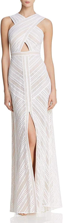 BCBG Max Azria Womens Genelle Crochet CrossFront Evening Dress