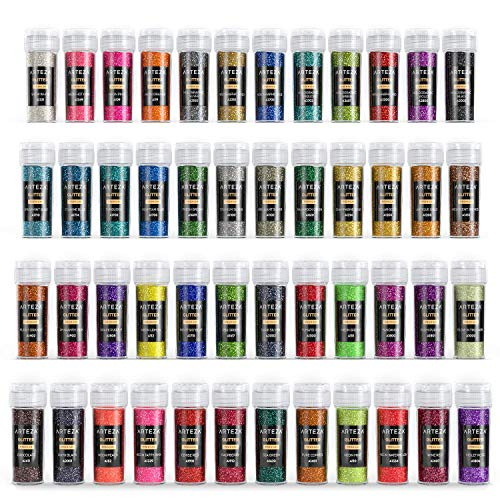Arteza Glitzerpulver, Bastelglitzer in 48 Farben, 8.5 g. Streuglitter in Schüttgefäßen, UV-leuchtender Glitzerstaub für Körper, Gesicht, Kosmetik & zum Glitzer Basteln