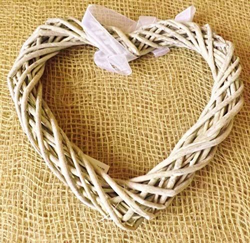Ausuky, ghirlanda antica a forma di cuore, in vimini, da appendere alla porta, per casa, matrimonio, Pasqua, Natale Large