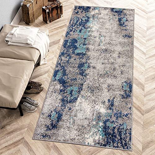 Carpeto Rugs Modern Läufer Flur Teppich Abstrakt Muster - Kurzflor Teppichläufer für Flur, Küche, Schlafzimmer, Esszimmer - Flurläufer in Versch. Größen und Farben - Dunkelblau Grau 80 x 200 cm