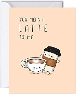 Latte Anniversary Card for Her Him, Coffee Birthday Gift for Boyfriend Girlfriend, Greeting Card for Husband Wife