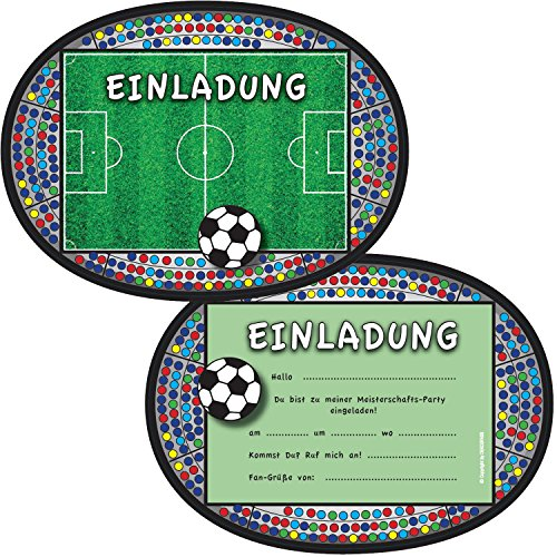6 Einladungskarten * FUSSBALL-STADION * für Kindergeburtstag und Party von DEKOSPASS // Kinder Geburtstag Party Kinderparty Fussballparty Einladung Einladungen Karte Einladungs-Set Motto Mottoparty Fussballjunge Fussballer Fussball