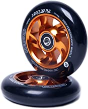 FREEDARE Scooter Wheels 100mm Pro Stunt Scooter Replacement Wheels with ABEC Bearings(Orange, Set of 2)