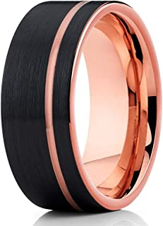 Silly Kings Jewelry Rose Gold 12mm Tungsten Wedding Band - Men's Ring - Black Tungsten Ring