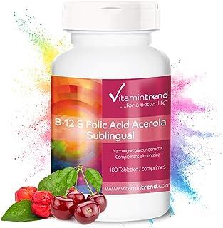 Vitamina B12 & Ácido Fólico (vitamina B9) sublingual con acerola –Bote para ¡