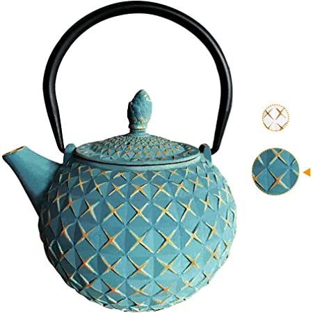 Cast Iron Tea Kettle Japanese Tetsubin Teapot Coated with Enameled Interior Blue-green Spiral pattern, 1200ml//40.5oz Durable Cast Iron Teapot with Stainless Steel Infuser