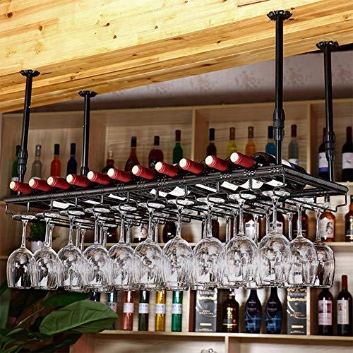 CCAN Barras Colgantes Barras de Vino Estantes para Vino Portavasos Colgantes Cristalería al revés Estantes para Vino, Negro, 80 * 35Cm Happy Life