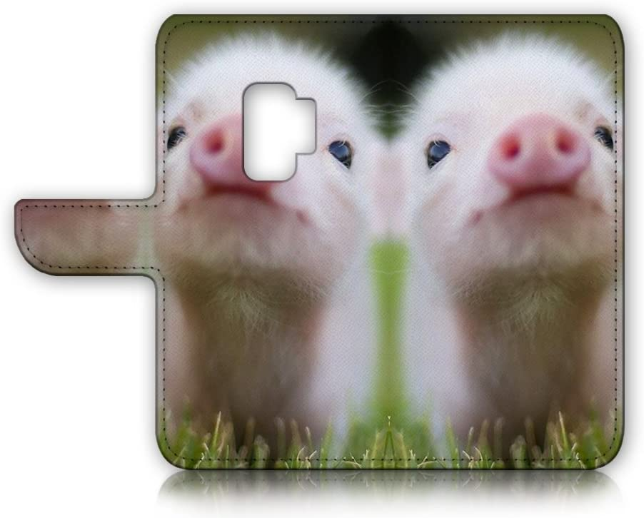 (for Samsung Galaxy S9) Flip Wallet Case Cover & Screen Protector Bundle - A21276 Cute Baby Pig