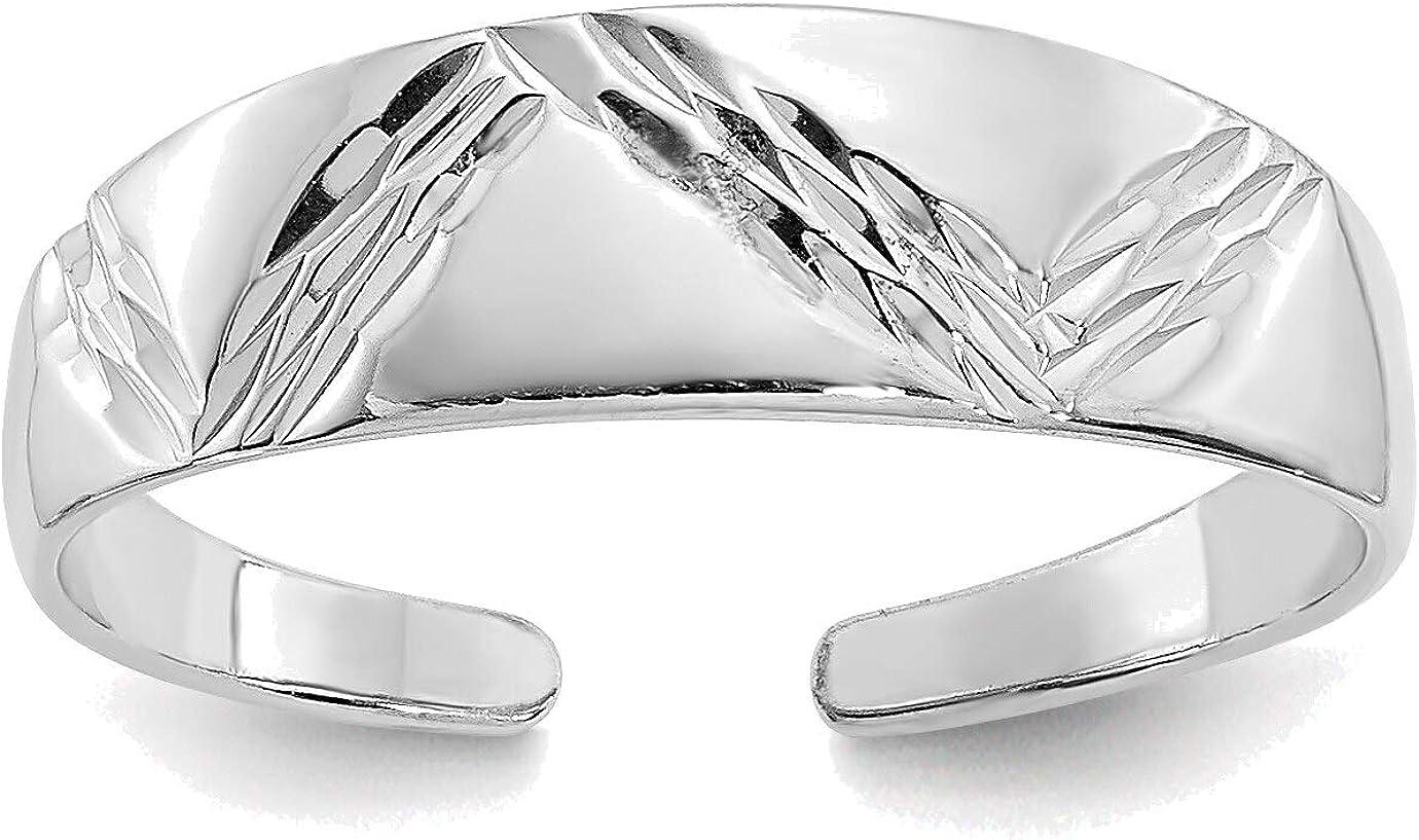 Bonyak Jewelry 14kt White Gold Fancy Toe Ring in Size 11