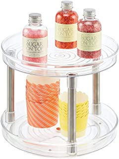 mDesign Organizador de Cocina rotatorio – Bandeja organizadora con Dos Pisos para Guardar Alimentos – Especiero Giratorio para los armarios de la Cocina o la encimera – Transparente