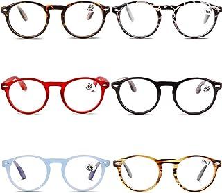 VEVESMUNDO Gafas de Lectura Grandes Redondas Mujer Hombre Ligera Presbicia Vista Leer Lejos Graduadas 1.0 1.5 2.0 2.5 3.0 3.5 Leopardo Rojo Negro Azul Marrón Carey