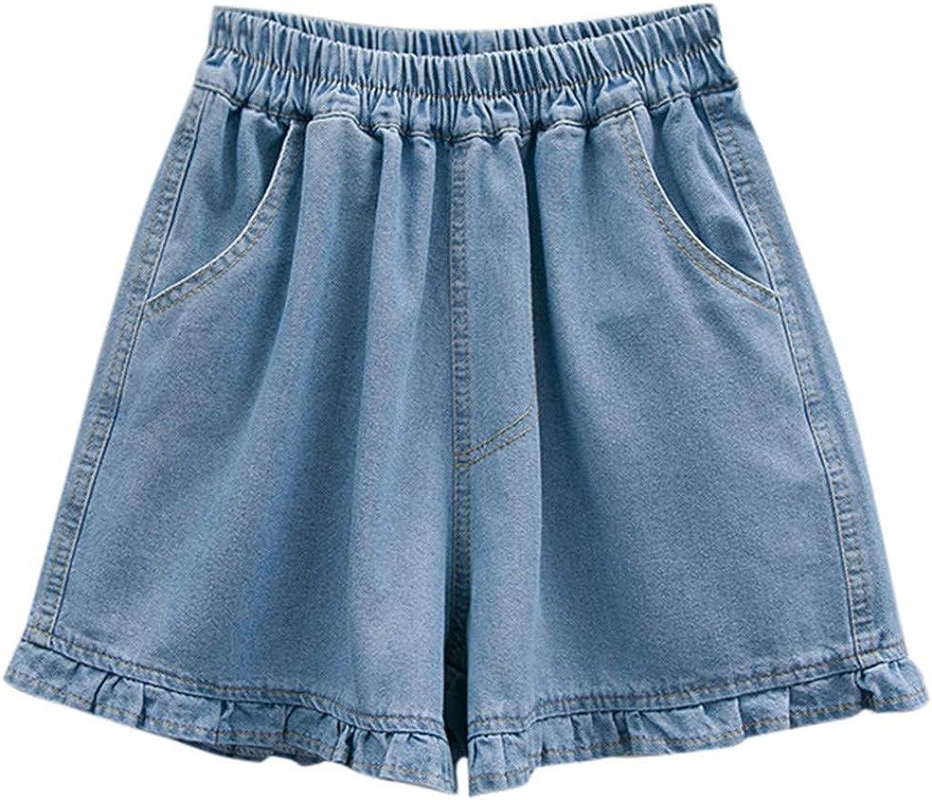Boshivw Womens Jean Shorts Loose High Rise Macrame Hem Denim Shorts with Pockets