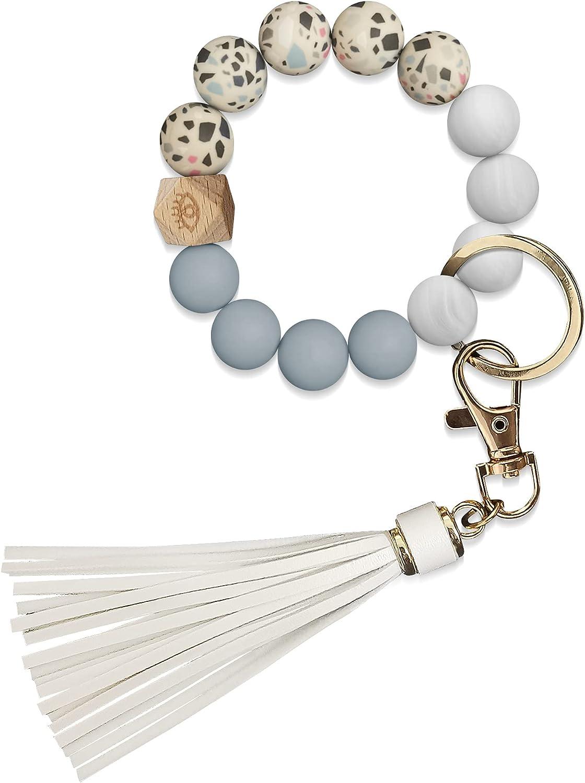 Key Ring Bracelet Silicone Beaded Keychain Bracelet for Women Poratable Mama Keychain with Tassel Key Chain Bangle for Wrist Yokihng
