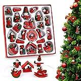 O-Kinee 24 teiliges Weihnachtsbaumschmuck, Weihnachten Dekoration aus Holz für Adventkalender, Weihnachtsanhänger 6 cm in Geschenkbox
