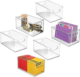 mDesign boîte de rangement en plastique avec poignées intégrées (lot de 6) – boite transparente pour le rangement des uste...