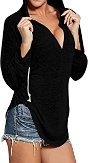 Womens Long Sleeve Sexy V Neck Drawstring Sweatshirt Hoodies Pullover Tops