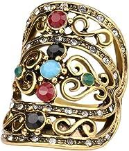 YAZILIND exagerado Anillo Hueco Escultura Piedra Preciosa Anillos Retro Vintage joyer/ía Mujeres cumplea/ños Regalo de cumplea/ños