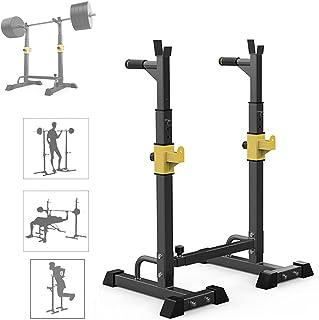 MNBVH Soporte Sentadillas Regulable, Estante de Barra con Pesas Ajustable para Barbell, Squat Rack Stand Gym para Fitness,...