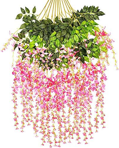 Tifuly 3,6 FT Kunstmatige Wisteria Vines, 3 takken Ratta Nep Wisterias Lange Muur Garland Zijde Opknoping Bloem voor Thuis Feest Bruiloft Plafond Decoratie