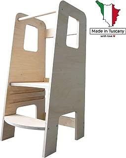 La Primera Torre de Aprendizaje de Madera Natural Fabricada en Italia según los principios Montessori. Diseñado por Expertos para ser la Torre de Aprendizaje Que Ayuda a educar a Sus Hijos.