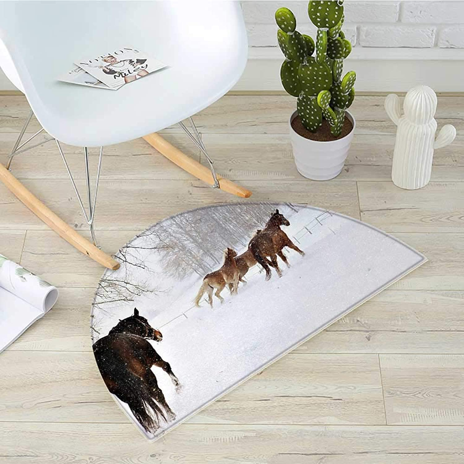 Winter Semicircular CushionHorses in The Snow Playing Having Fun in The Forest Seasonal Animal Photography Entry Door Mat H 39.3  xD 59  Brown White