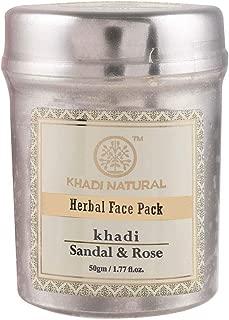 Khadi Ayurvedic Sandal & Rose Face Pack-50g, Skin Nourishment, Oil Control, Anti Tan, Glowing Skin, Anti Acne, Anti Spots, Removes dead skin cells, For Normal Skin Oily Skin, Dry Skin, Sensitive Skin,