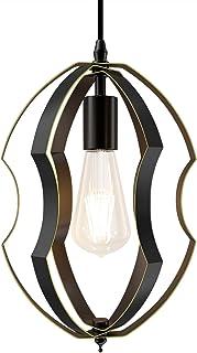 Klighten Lámpara Colgante Vintage Negro Industrial, E27 Luces Colgante de Hierro Forma ajustable, Iluminación colgante para Salón Comedor Cocina Porche, Ø20cm x H31cm, Bombilla no Incluida