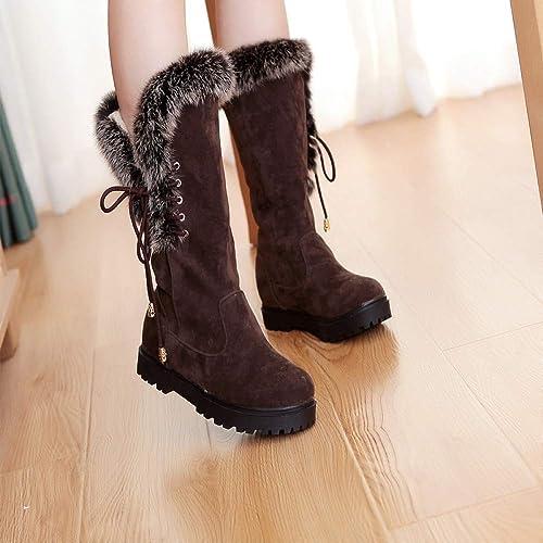 ZHRUI botas para mujer - Cuero Mate avanzado Piso para Estudiantes con botas de algodón botas para la Nieve zapatos de algodón de Invierno para mujer 34-39 (Color   marrón, tamaño   39)