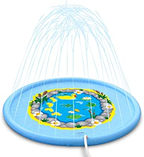 Sprinkle and Splash Play Mat, 68 Inches Duck Wading Pool Pad, Durable Sprinkler Pad, Outdoor Water Sprinkler Toys for Kids