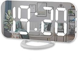 ساعت زنگ دار دیجیتالی ، صفحه نمایش بزرگ 6 اینچی LED با درگاه های شارژر USB دوگانه | حالت خودکار دیمر | عملکرد آسان تعویق ، ساعت دیواری با میز آینه ای مدرن برای دفتر خانه اتاق خواب برای همه افراد