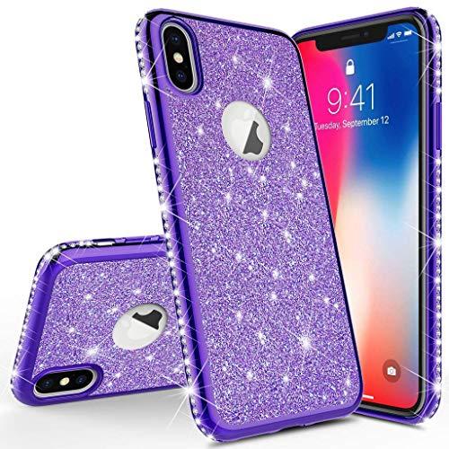 Homikon Silikon Hülle Kompatibel mit iPhone X/XS Überzug TPU Bling Glitzer Strass Diamant Schutzhülle Ultra Dünn Kratzfest Soft Flex Durchsichtig Silikon Handyhülle Tasche Case - Lila