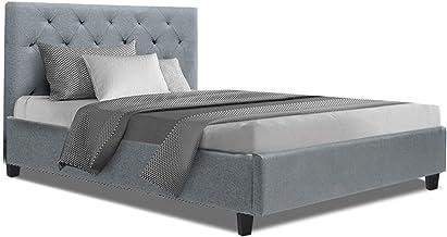 King Single Bed Frame, Artiss Van Fabric Wooden Bed Frame Base, Grey