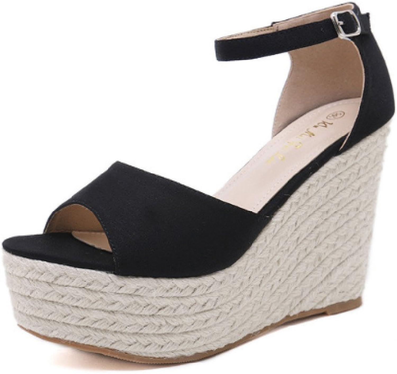 Women's Wedge Sandals Summer Weaving Heeled Beach Dress shoes Platforms Ankle Strap & Open Toe