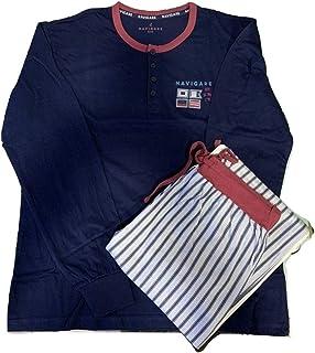 Navigare Pigiama Serafino Uomo Lungo Due Pezzi Cotone Jersey Art. B2141090